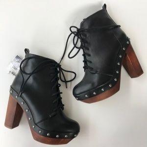 Zara Women Booties Black Platform Wood Lace Up 36